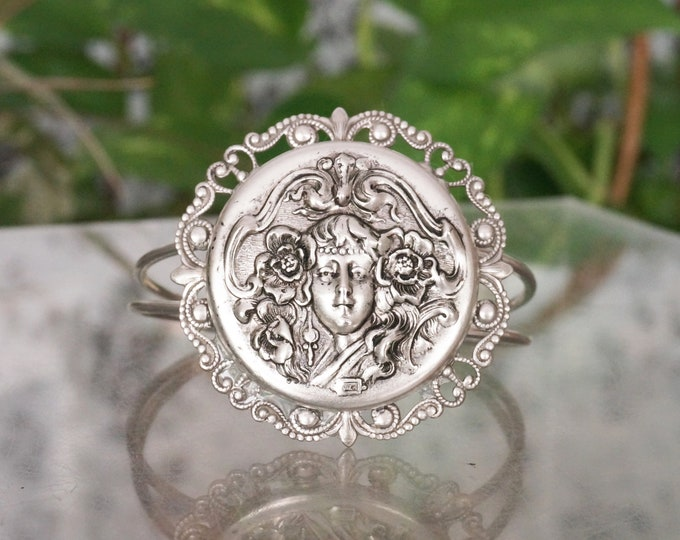 Free Shipping! Art Nouveau Style Silver Repousse Cameo Maiden Cuff Bracelet