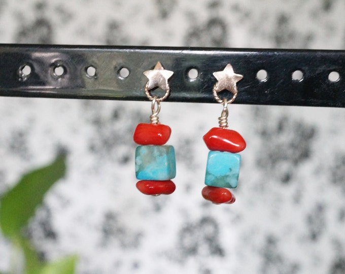 Free Shipping! Delicate Dangle Sterling Star Earrings In Red Coral and Blue Jasper