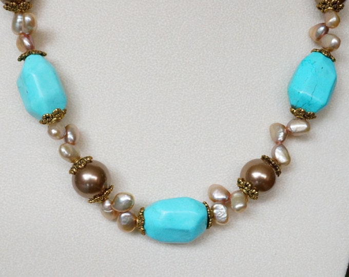 Free Shipping! Turquoise Nuggets and Freshwater Pearls Necklace - Length is 24 inches