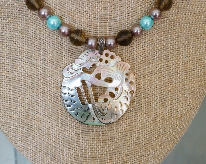 Free Shipping! Carved Mother of Pearl Mermaid Pendant Necklace with Smoky Quartz and Shell Pearls