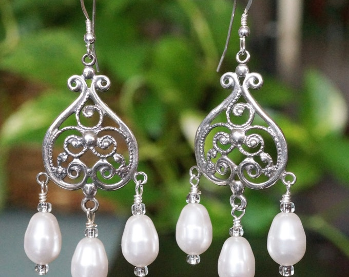 Free Shipping! Bridal Sterling Scroll Chandelier Earrings with Swarovski Pearls