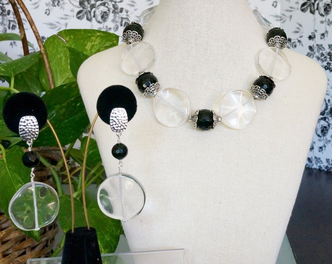Free Shipping! Statement Necklace and Earring Set Made of Black Onyx Rounds and Wavy Crystal Quartz