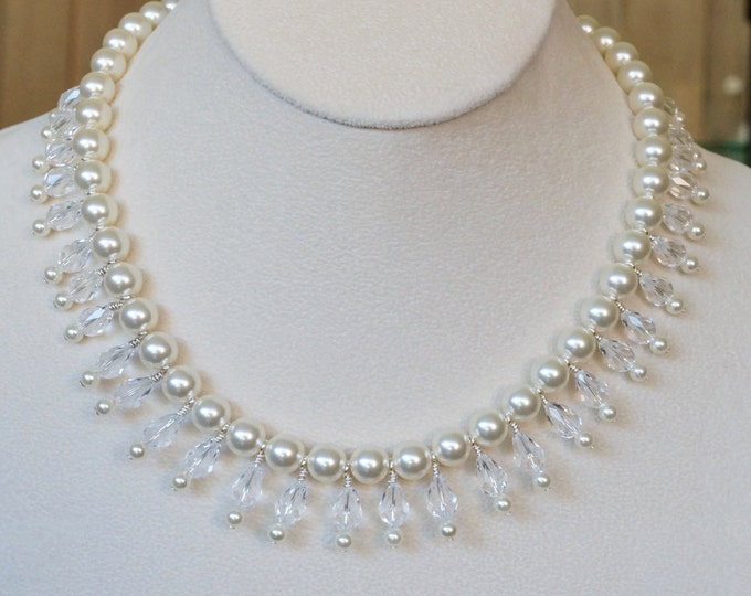 Free Shipping! Bridal/Party Bib Necklace in Swarovski Cream Pearls and Crystal Drops