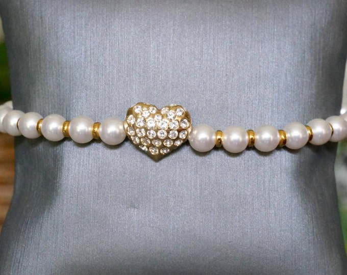 Free Shipping! Bridal Swarovski Gold plated Heart and Swarovski Pearl Bracelet