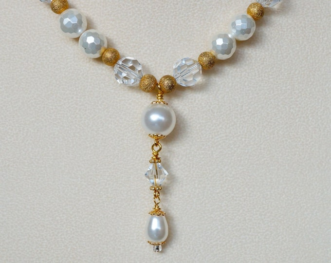 Free Shipping! Bridal Necklace with Swarovski Crystals and Pearls- Gold Plated Beads