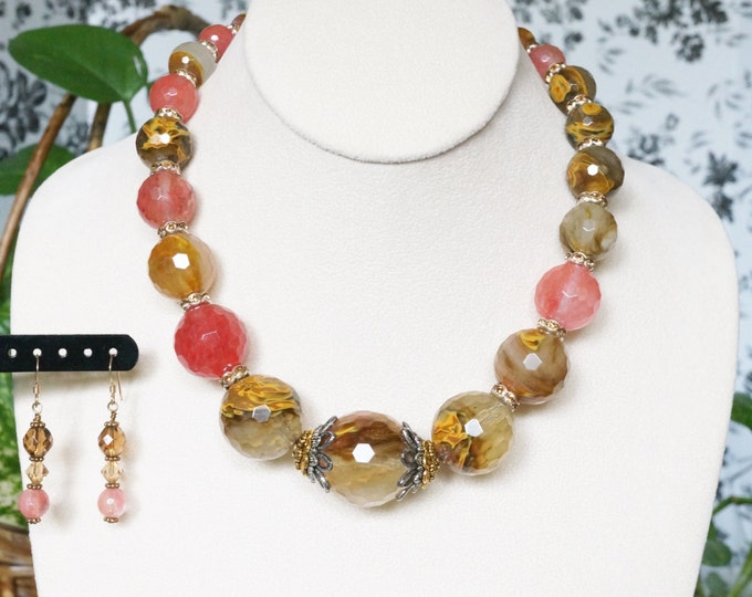 Free Shipping! Volcano Cherry Quartz Chunky Necklace and Earring Set