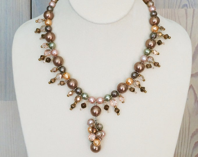 Free Shipping! Cluster Dangle Necklace with Large Shell Pearls, Czech Crystals