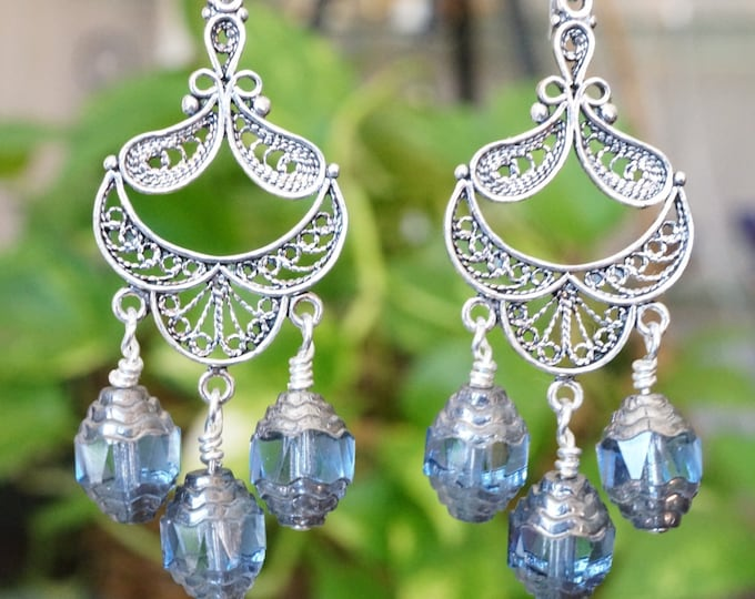 Free Shipping! Bridal Chandelier Earrings-Something Blue-with Czech Cathedral Beads