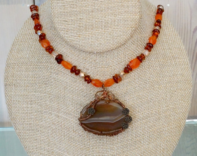 Free Shipping! Copper Wire Wrapped Brown Agate Pendant with Carnelian and Amber Beads Necklace