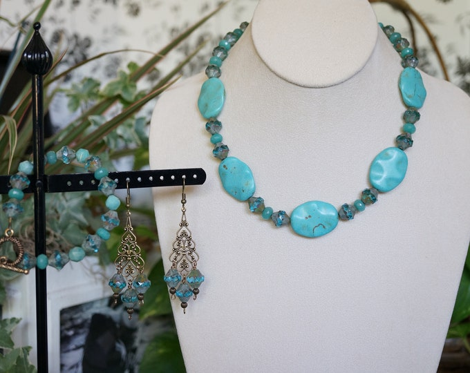 Free Shipping! Handmade Necklace Earring and Bracelet Set Made of Turquoise Magnesite- Amazonite and Czech Beads