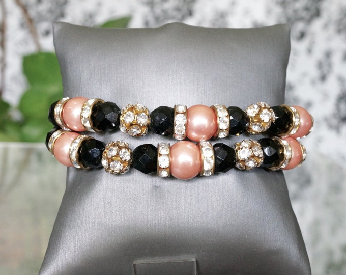 Free Shipping! Double Strand Bracelet in Black Onyx -Pink Shell Pearls- Rhinestone Gold Beads