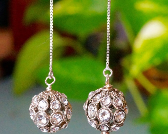 Free Shipping! Party/Bridal Drop Earrings- SWAROVSKI Crystal Encrusted Filigree German Round Beads-