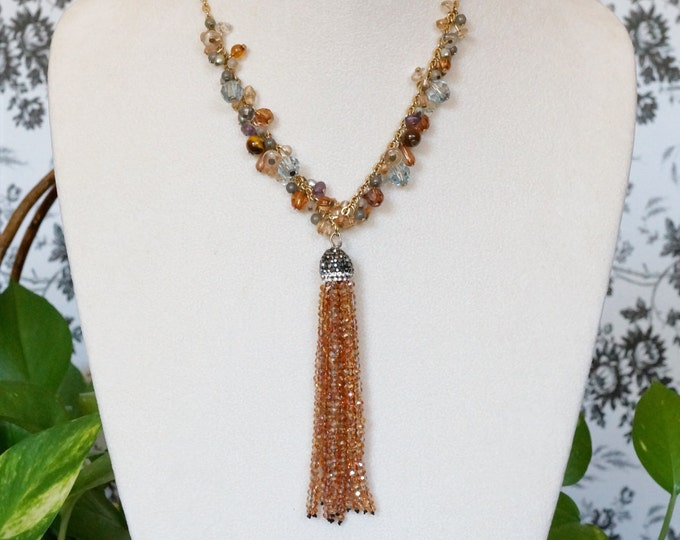 Free Shipping! Tassel Necklace with Repurposed AVON Gold Chain in Topaz and Blue Colored Crystals