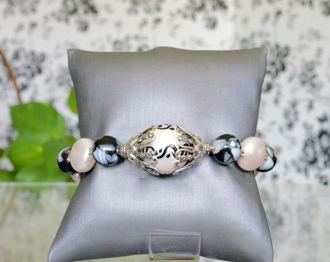 Free Shipping! Painted Shell Pearl Bracelet with Black Vein Jasper Beads and Swarovski Coin Pearls