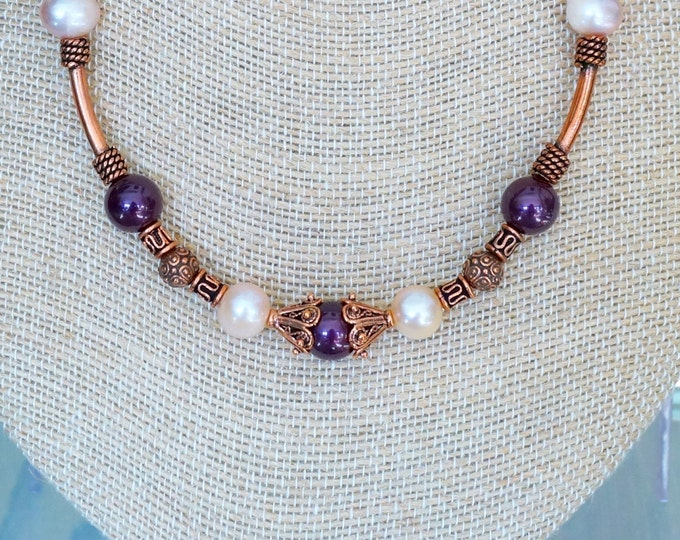 Free Shipping! Copper Necklace with Freshwater Pearls and Shell Pearls - 17.5 inches