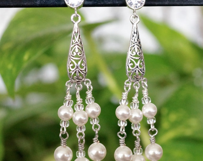 Free Shipping! BRIDAL/Party Sterling Stamped Chandelier Post Earrings with Swarovski White Pearls