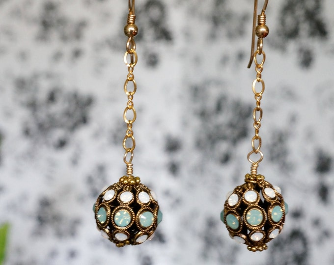 Free Shipping! Gold Dangle Earrings made of German Swarovski Encrusted Filigree Beads and Gold Filled Chain