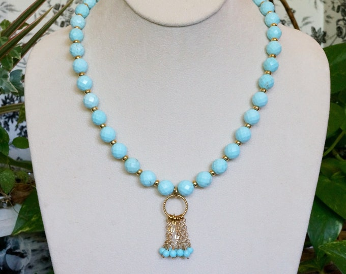 Free Shipping! Hand Made Faceted Turquoise Necklace with Gold Filled Chain Dangles