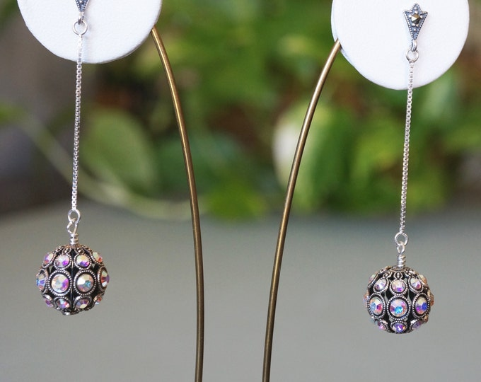 Free Shipping! Bridal/Party Dangle Earrings with German Swarovski Filigree Beads in Clear Color with AB Finish- Marcasite Sterling Post