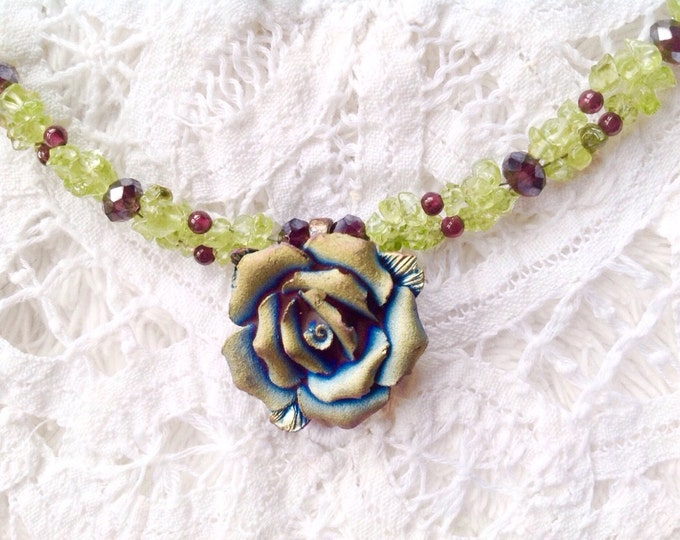 Free Shipping! Peridot and Garnet Necklace with Molded Flower Pendant