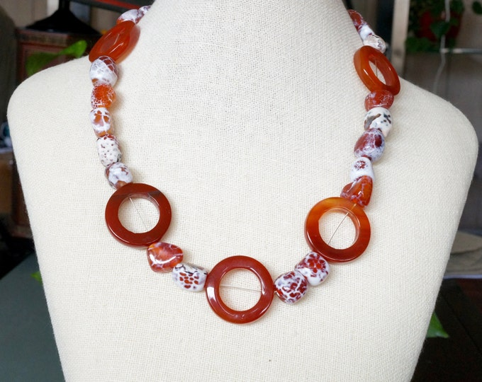 Free Shipping! Carnelian Donuts and Crab Agate Necklace - 20.5 inches long