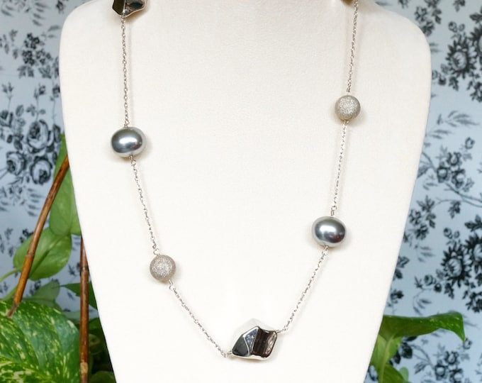 Free Shipping! Sterling Chain Station Necklace with Silver Plated Nuggets and Stardust Beads and Grey Shell Pearls