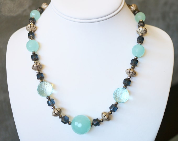 Free Shipping! Vintage Looking  Necklace with Aquamarine, Blue Quartz, Czech Glass, and Silverdust Rondelle Beads