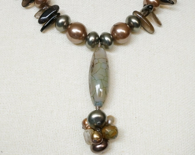 Free Shipping! Crackle Agate Pendant with Freshwater Pearls Necklace with Smokey Quartz Daggers and Shell Pearls - Length is 18.5 inches