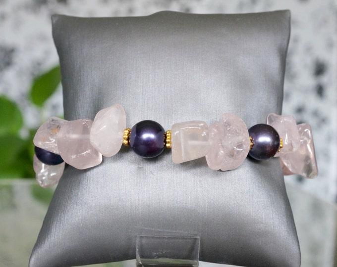Free Shipping! Rose Quartz Toggle Bracelet