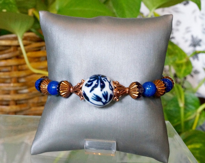 Free Shipping! Chinese Blue and White Porcelain Bead Bracelet with Lapis Lazuli and Czech Beads