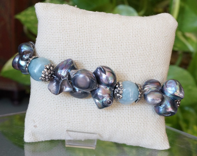 Free Shipping! Conjoined Freshwater Pearls and Sponge Blue Quartz Bracelet