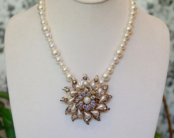 Free Shipping! Repurposed Vintage Brooch Necklace in Gold and Swarovski Pearls
