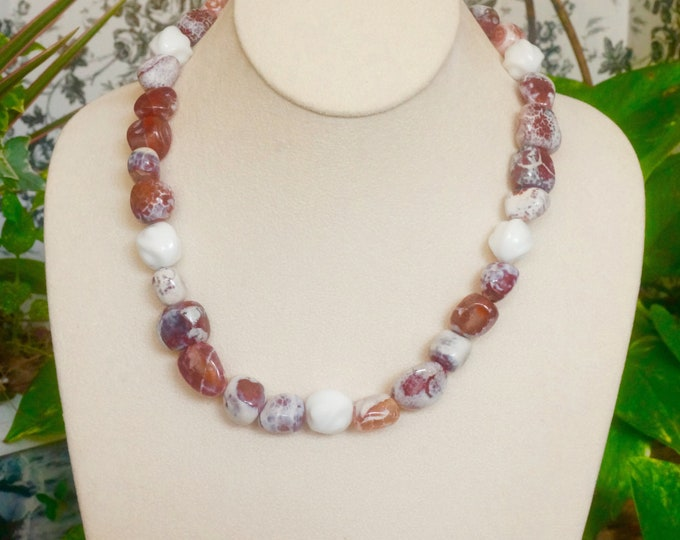 Free Shipping! Nugget Crab Agate Necklace with White Vintage Beads- 20 inches long