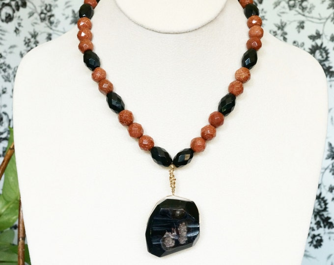 Free Shipping! Gold Wire Wrapped Black Agate Pendant with Faceted Goldstone and Black Onyx Necklace- 16.5 inches