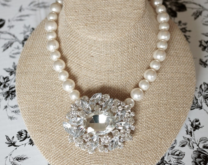Free Shipping! Bridal Necklace with Repurposed Rhinestone Brooch and Swarovski Pearls