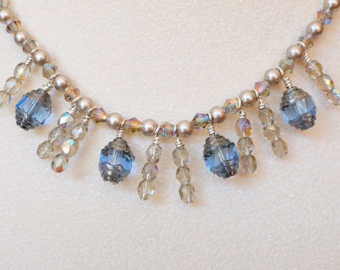 Free Shipping! Bridal Necklace-Something Blue in Victorian Style with Czech Cathedral Beads and Swarovski Pearls