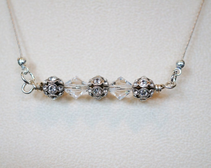 Free Shipping! Vintage Inspired  Pendant Bar Necklace with German Filigree Swarovski Encrusted Beads and Swarovski Bicone Clear Crystals