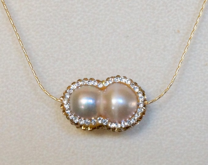 Free Shipping! Micro Pave Peanut Pearl with Rose Gold and Clear Rhinestones on a Gold Filled Chain