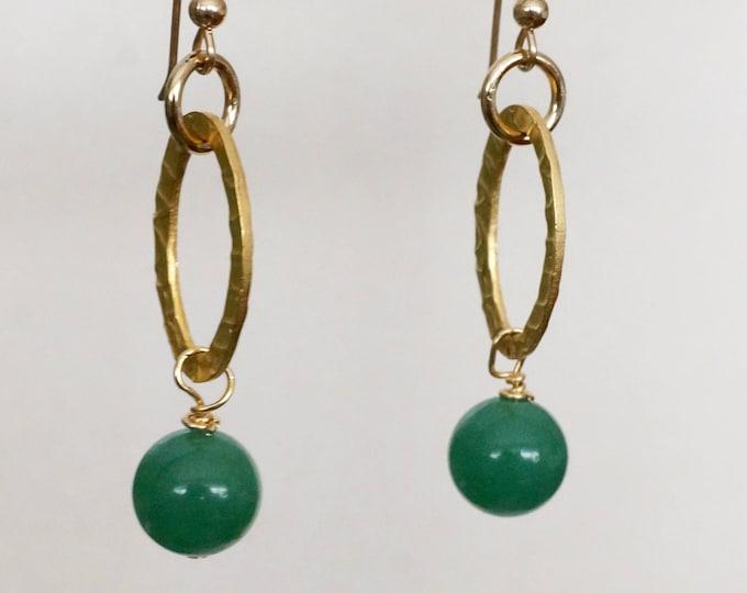 Free Shipping! Green Quartz Gold Dangle Earrings