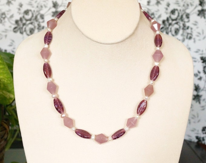 Free Shipping! Handmade Necklace with Vintage Japanese Oval Beads-Purple Jade - Freshwater Pearls