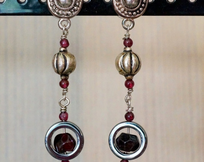 Free Shipping! Dangle Earrings with Bali - Garnet and Hematite Beads
