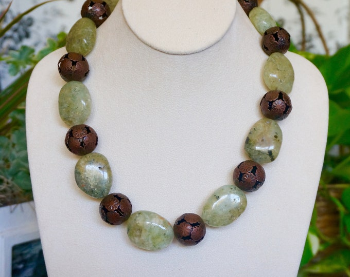 Free Shipping! Chunky Prehnite and Copper Handmade Necklace