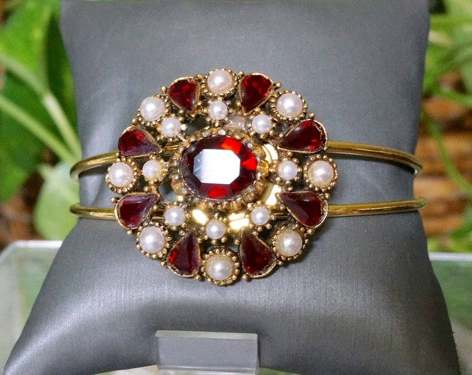 Free Shipping! Repurposed Vintage Brooch Cuff Bracelet in Ruby Color Rhinestones and Faux Pearls
