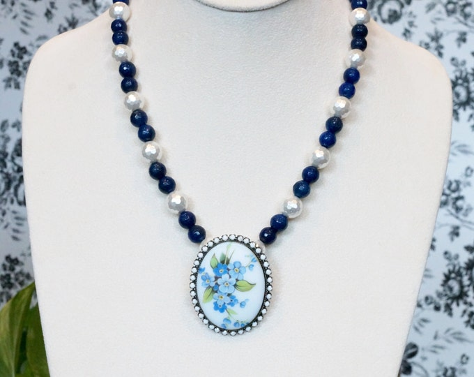 Free Shipping! Repurposed Floral Brooch Necklace with Lapis Lazuli and Faceted Shell Pearls