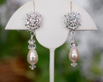 Free Shipping! Bridal Swarovski Pearl Post Earrings with Swarovski Cream Pearls and Crystals