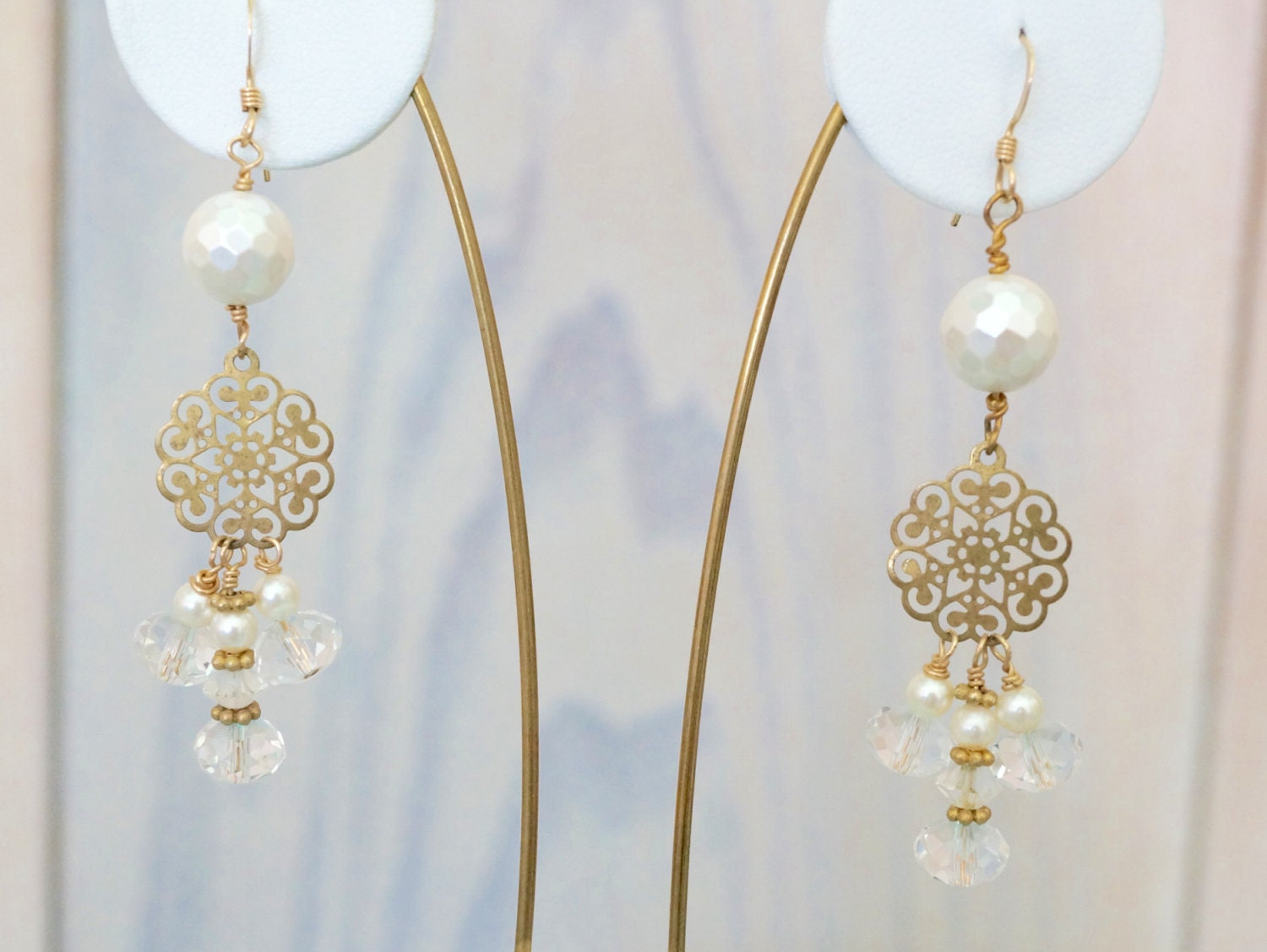 Free Shipping! Bridal Dangle Cluster Goldtone Earrings with ... 6a0e54ee47c7