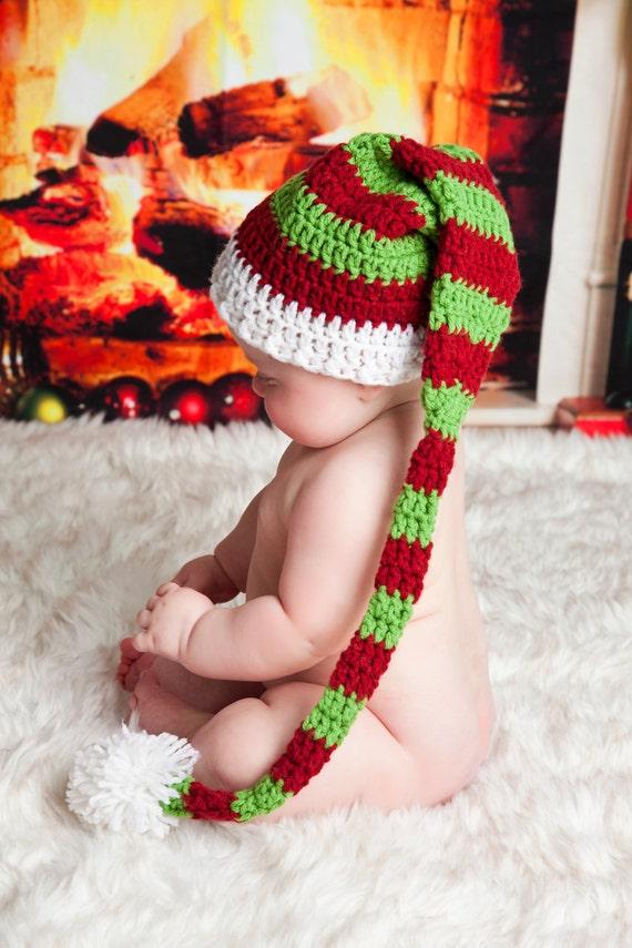 Gestreifte Christmas Elf Mütze Weihnachten Foto Prop   Etsy