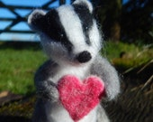 Needle felted Badger with heart or flower