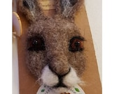 Hare brooch pin Needle felted animal head