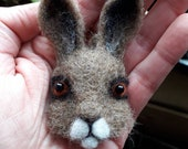 Hare brooch pin Needle felted animal head MADE TO ORDER